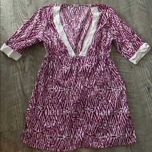 MERONA Fuchsia Pink Coverup with Crochet Trim